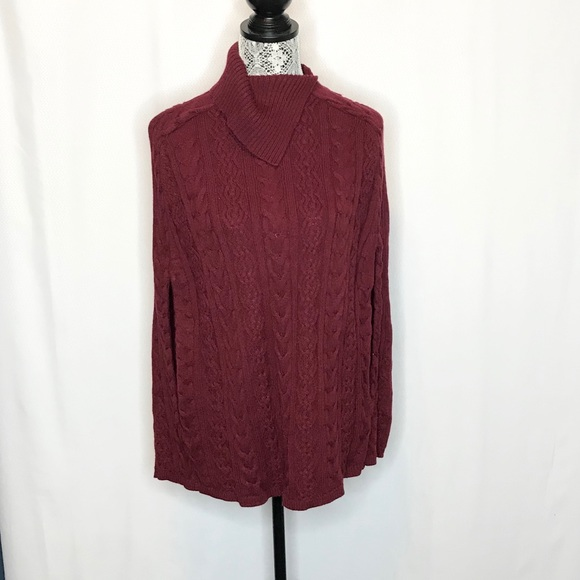 Talbots Sweaters - Talbots wool blend chunky cable knit cape sweater